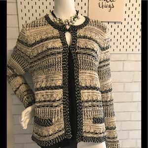 Chico's textured sweater in cream and black